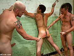 Gay Pictures -  Luke Riley and Jesse Alan tie up and fuck DJ in the slaughterhouse.