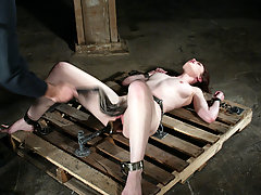 Bondage Pictures -  Justine Joli is forced to cum by two men at once