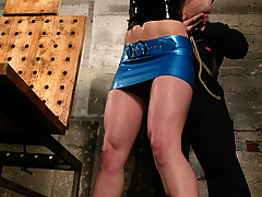 Water Bondage Pictures -  Sexy high heeled blonde get water tortured