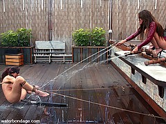 Water Bondage Pictures -  Satin Phoenix gets roped on the docks by Annie Cruz