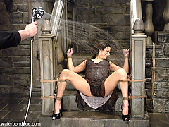 Water Bondage Pictures -  Nadia fantasizes about being abused in a dungeon