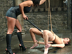 Water Bondage Pictures -  Femdom Sandra Romain catches Annie stealing and punishes her