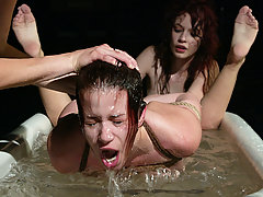 Water Bondage Pictures -  Two sets of red hair, ball gags, and sets of perfect tits