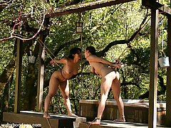 Water Bondage Pictures -  Chilly waters are combined with hot kissing and dildo gags