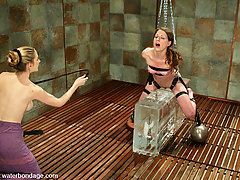 Water Bondage Pictures -  This shoot has it all! A super orgasmic model, huge blocks of ICE