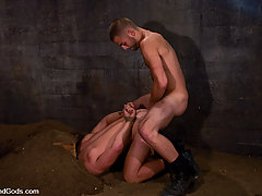 Gay Pictures -  Van Darkholme works over two hard naked slaves.