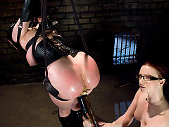 Lesbian Pictures -  Caged, hooded, suspended slut!