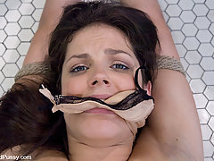 Punishment Pictures -  Bobbi Starr gets fucked in the bathroom by bad girl Harmony Rose