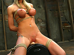 Torture Pictures -  Sammie's all-natural BIG TITS get tied while her ass gets shocked