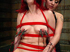 Electro Pictures -  Sabrina Sparks is bound upside down, strap-on fucked, and flogged