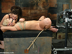Electro Pictures -  Mia Bangg is bent into crazy bondage and vibrated to orgasm