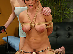Torture Pictures -  Lesbian electric dildo fun at home.