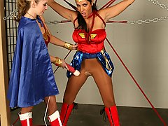 Bondage Pictures -  Superheroines Natali Demore and Veronica Rayne torture each other.