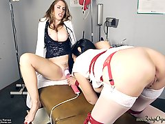 Forced Orgasms Pictures -  Ashley is caught by the Head of ER masturbating in one of the patients rooms. Natali, being the strict Doctor that adheres by all the rules, tells her she needs strict discipline. Ashley convinces her to join her. Natali decides that might be a good idea