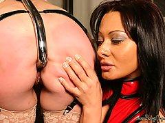 Domination Pictures -  Lezdome strappado slave girl electro-gasm