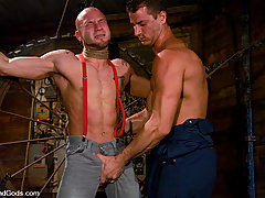 Gay Pictures -  A farmer ties up and fucks a muscle punk.