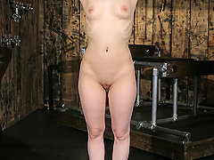 Forced Orgasms Pictures -  Sabrina is gagged, broken and immobilized in a rack.