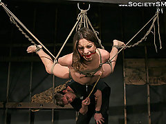 Submission Pictures -  She is tied to a pole, waxed, and suspended.