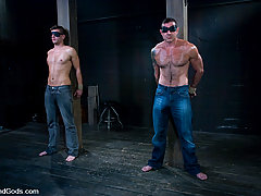 Gay Pictures -  Super Stud Derrek Diamond gets flogged and fucked in bondage for the first time.