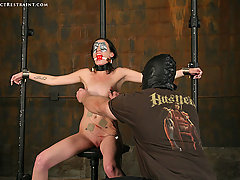 Extreme Pictures -  Hailey Young clamped, whipped and cumming!