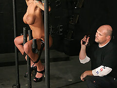 Pain Pictures -  Huge tits Angelina in rough bondage!