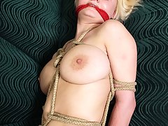 Pain Pictures -  Boosty amateur blondie left gagged and in rope bondage on the sofa