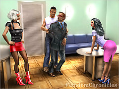 BDSM Art Pictures -  Two bitches humiliate mature guy feminizing and crossdressing him 3D art story