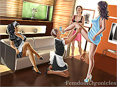 Cartoons Pictures -  Mistress prepares slave crossdressing him to sissy made to serve dominas on party 3D