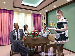 BDSM Art Pictures -  Sissy maid serves two ebony dominas and gets and order to suck sex partner's thick dick 3D