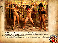 BDSM Art Pictures -  Story about two dominant ladies training man in castle's dungeon illustrated with 3D