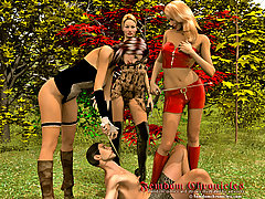 Cartoons Pictures -  Dominant ladies submit slave illustrated story