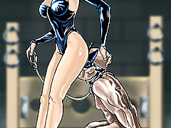 BDSM Art Pictures -  Forced femdom drawings of grim mistresses