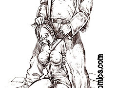 BDSM Art Pictures -  B/w drawings of dungeon domination