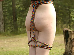 Punishment Pictures -  Gagged woman in bondage being whipped by her master outdoors