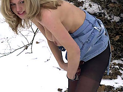 Watersports Pictures -  Amazing blonde tearing pantyhose and peeing outdoors