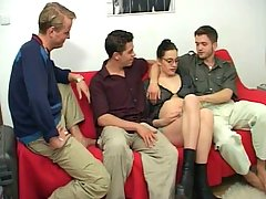 Pregnant Pictures -  Pretty pregnant cocksucker in group hardcore action