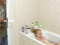 Pregnant Pictures -  Natural blond preggy masturbates and sucks dick in a bath