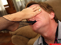 Feet Pictures -  Tall blonde makes dude to tear stockings and to worship her sexy feet, soles and toes