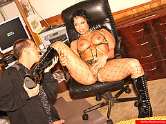 Feet Pictures -  Alluring brunette gives a footjob after dude worshipped her boots, bare feet and pussy