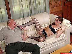 Feet Pictures -  Leggy girl in fishnet pantyhose footjobs a stiff dick then gets toes sucked by old dude