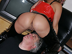 Facesitting Pictures -  Sexy big-boosted slut gets pussy licked by older dude then smothers him sitting on his face