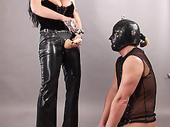 Femdom Pictures -  Russian strap on mistress fuck her slave