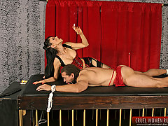 Femdom Pictures -  Gorgeous dominant lady spanking and whipping her restrained male slave