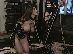 Slaves Pictures -  Kinky latex mistress tries various bondage patterns on her sexy slave and birches her fine ass