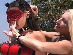 BDSM Pictures -  Mistress gags and spanks her blindfolded slave, then fucks her ass with a whip handle