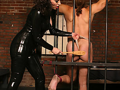 Femdom Pictures -  Mitress in black latex trains male slave keeping him in bondage and spanking his ass