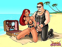 Cartoons Pictures -  BDSM sex adventure at the beach