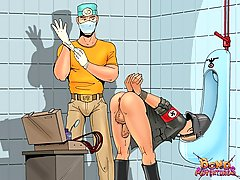 Cartoons Pictures -  Huge enema for a Nazi soldier
