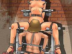 BDSM Art Pictures -  Merciless master and his sexy human toys