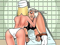 Cartoons Pictures -  Bossy nurse tortures a bound patient